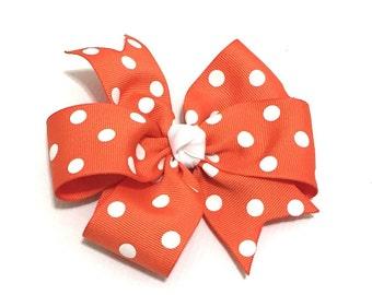 Orange and white polka dot hair bow - Girls hairbow - Polka dot bow - Fairytale Tutus - Girls hair accessories - Orange and white dots