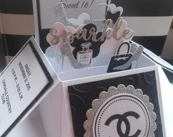10 3D Card in a Box Chanel Designer Sweet 16 Quinceañera Birthday Party Invitations Any Color