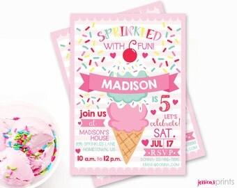Ice Cream Printable Party Invitation - Sprinkles Birthday Invitation - 5x7 Custom Ice Cream Party Invitation, Ice Cream Baby Shower
