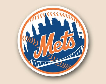 "NEW YORK METS Set of 2 Vinyl Cornhole Decal Logo Wall Sticker Car Truck 12"" Size"