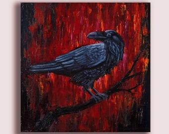 Raven - Bird painting-Crow-original oil wildlife nature- Red-Black-Bird Portrait-Oil Painting-Woodland Animal - Gothic Art