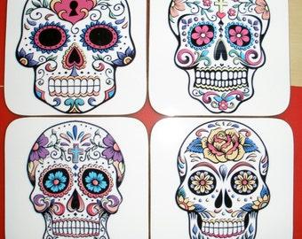 Sugar Skull, Day of the Dead, Dia de los Muertos, Candy Skulls, coasters, drinks, steampunk, gothic