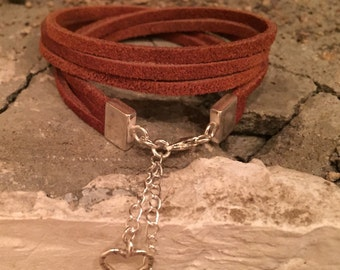 Suede and sterling silver wrap bracelet