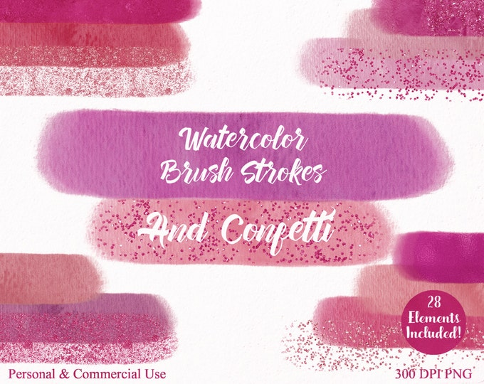 WATERCOLOR PAINT STROKES Clipart Commercial Use Clipart 28 Watercolor Brush Coral Blush Pink Confetti Watercolor Textures Logo Clip Art