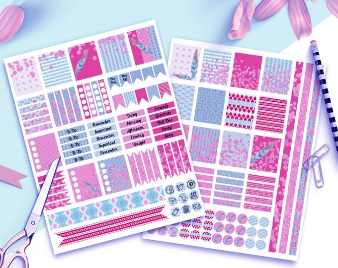 DIGITAL STICKER Sheets Pink & Blue Feathers and Confetti Printable Planner Stickers DIY Erin Condren Life Planner Includes Icons Flags More