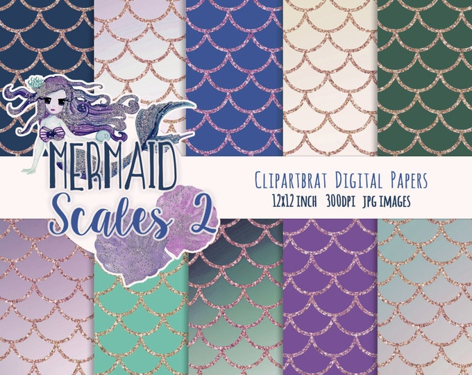 MERMAID DIGITAL PAPER Commercial Use Digital Backgrounds Purple Teal & Aqua with Rose Gold Glitter Girly Fish Scales Printable Digital Paper