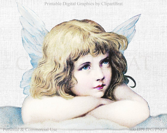 CHRISTMAS ANGEL Clipart Commercial Use Clipart Angel on Cloud Christmas Clipart Fabric Transfer Clipart Angel Graphic Jpg/Png