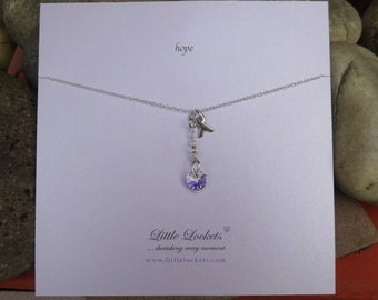 "Awareness pendant, necklace, ""hope"", sterling silver, Swarovksi crystal, awareness ribbon, comfort, sentiment, message jewellery"