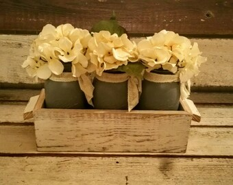 Farmhouse Mason Jar Table Trough