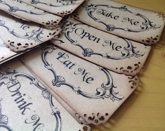 Alice in Wonderland themed 20 wedding gift favours tags white or rustic