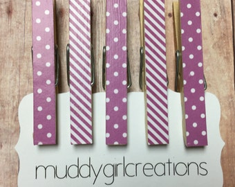 Decorative Clothespin Magnets - Set of 5 - Lavender and White Striped & Polka Dot - Refrigerator Magnets, Photo Clips
