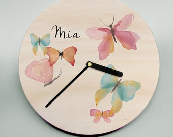 Girls Clock / Butterflies / Wooden Clock / Personalised Clock / Pastel Clock / Pretty Clock / Unique Clock / Personalized Clock / Name Clock
