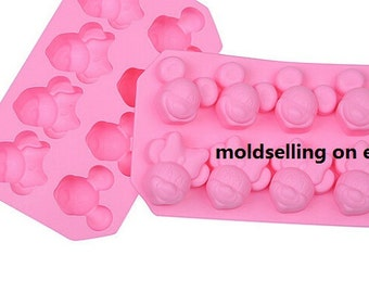 8-Mickey And Minnie Mouse Disney Chocolate Mold Soap Cake Mold Silicone Epoxy mold Ice Tray Biscuit Baking Tool DIY Bakeware Polymer Clay