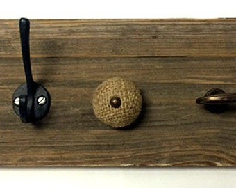 Reclaimed barn wood jewelry holder, knobs, rustic, hanging jewelry
