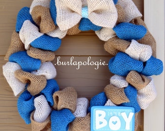It's A BOY Burlap Wreath Baby Shower Wreath Blue Nursery Wreath Baby Wreath, 19 - 20 Inches