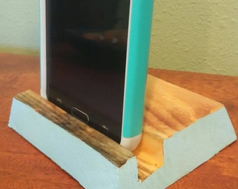 "Reclaimed Smartphone/ Ipod Stand ""Light Blue"""