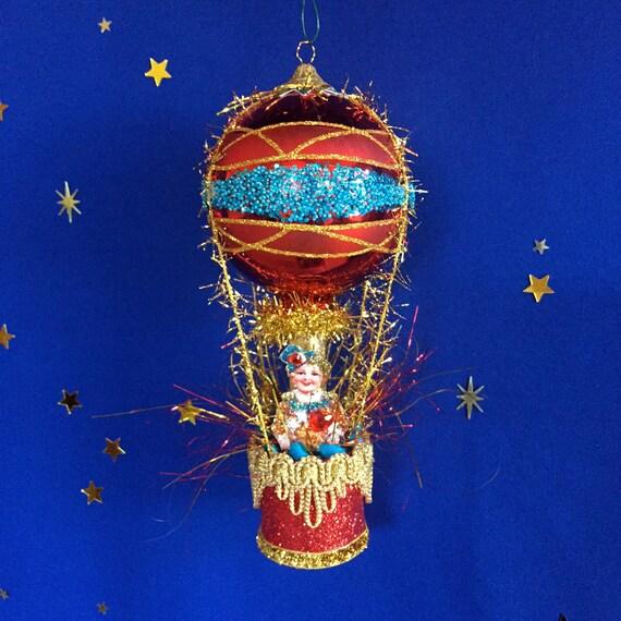 Vintage Christmas Ornament Hot Air Balloon Ornaments. Old
