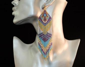 beautiful native American earrings woven beads toho