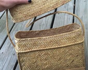 Wicker woven purse