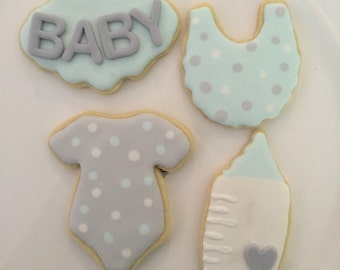 12 Sweet Baby Boy Baby Shower Sugar cookies