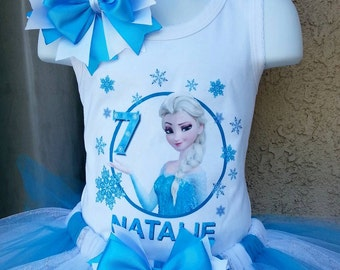 Frozen Elsa birthday shirt and hair bow