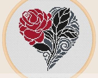 Valentine flower - Cross stitch pattern