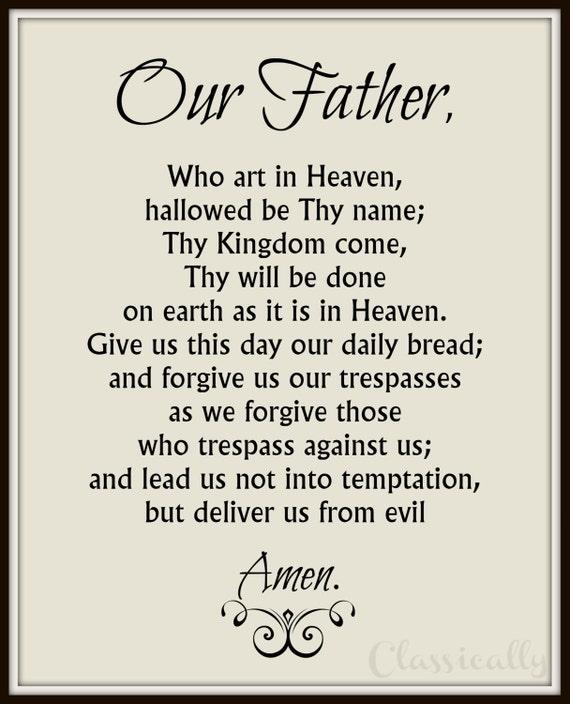Playful image regarding printable our father prayer