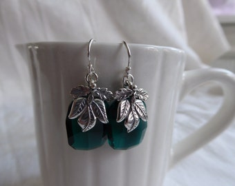 Emerald Green Swarovski Crystal and Sterling Silver Floral Leaf Earrings
