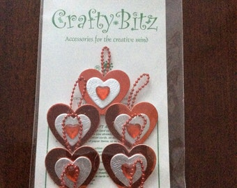 Crafty Bitz pk Vs21 red,hearts   etc etc Card toppers,craft ,