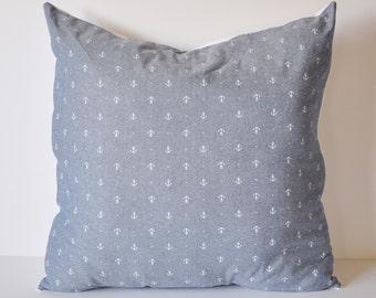 CHAMBRAY PILLOW COVER // Nautical Pillow, Anchor Pillow, Chambray Pillow, Anchor, Blue, Chambray Throw Pillow