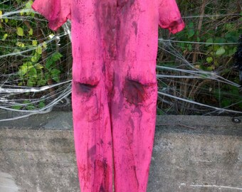 Women's Petite Small Pink Zombie Jumpsuit