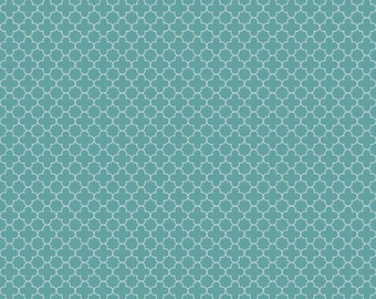 Teal Mini Quatrefoil Fabric from Riley Blake, C345-26