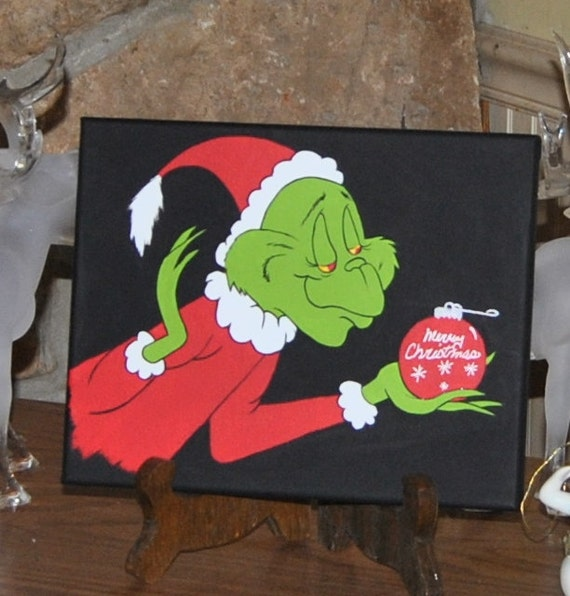 Grinch merry christmas canvas painting decor holiday art for Christmas canvas painting ideas