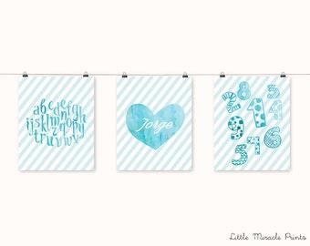 Blue Watercolor Art Print,Nursery Poster,Nursery Print,Nursery Art,Home Decor,Nursery Wall Art,Kid Art,Baby  Art, Nursery Set [LMNS0014-P]