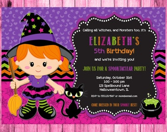 Witch Invitation, Halloween Invitation Kids, Halloween Invitation, Kids Halloween Party Invitation, Witch Halloween Invitation, Girl