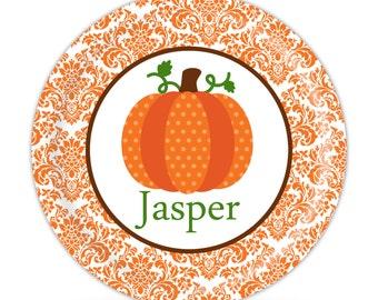 Thanksgiving Plate   Orange Damask, Thanksginvig Pumpkin Dinner Plate,  Holiday Melamine Personalized Plate