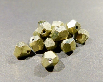 One Pyrite bead, golden color, natural shape, drilled, rare, 6mm, top quality, pyrite crystals