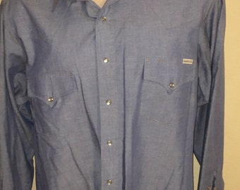Vintage long-sleeve blue western cowboy shirt by Roebucks, pearl snap buttons, Sz XL