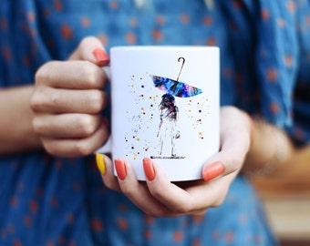 Girl and Umbrella in the Rain - Watercolor Mugs - Ceramic Mug - Art Mug - Colorful Coffee Mug