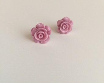 Soft Purple RoseBud Stud Earrings - HANDMADE