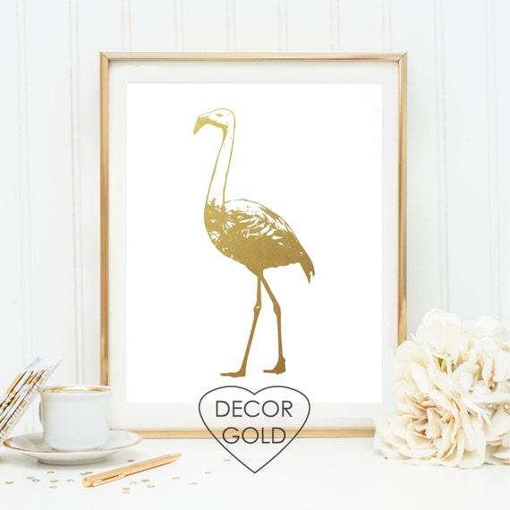 Flamingo Gold Foil Print Art Gold Office Decor Gold Home
