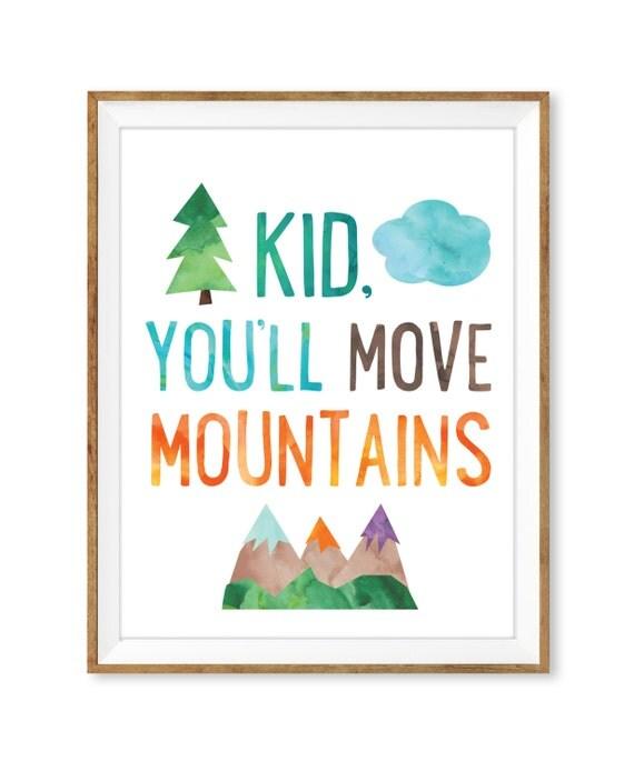 Dr Seuss Kid You Ll Move Mountains: Kid You'll Move Mountains Print Printable Wall Art Dr