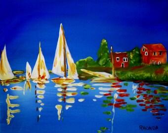 sailboats acrylic painting print 8x10 lake seascape