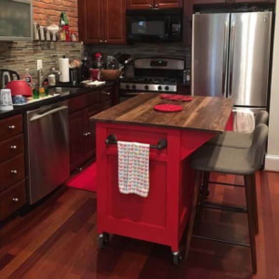 Customizable kitchen island kitchen storage rolling island for Rolling kitchen island with seating