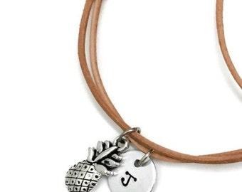 Initial Wrap Bracelet | monogram | summer style | beach babe | sand dollar | starfish | mermaid | anchor | pineapple | adjustable | custom