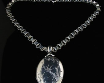 Antique Victorian Silver Locket & Collar  Dated 1876 – Bird In Flight