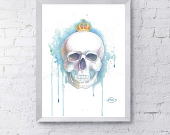 Watercolor Art Print, Braincase, Wall Art, Home Decor, Nursery Art