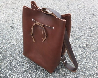 Horween Leather Bucket Bag / Leather Handbag / Shoulder Bag / Crossbody / Drawstring Purse