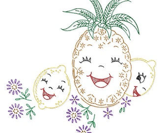 IVAB7102 Happy Singing Fruit for Tea Towels Vintage Embroidery Transfer PDF Instant Download!