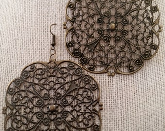 Large Antique Brass Scroll Earrings